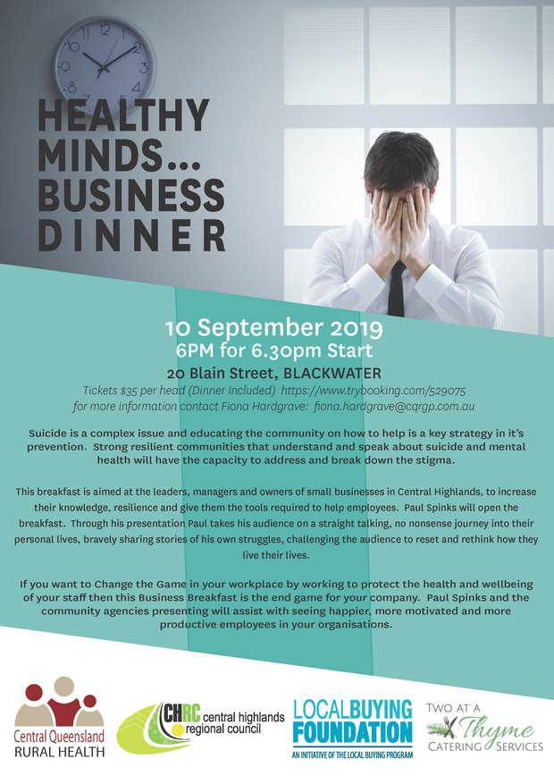 Blackwater Healthy Minds Dinner Flyer